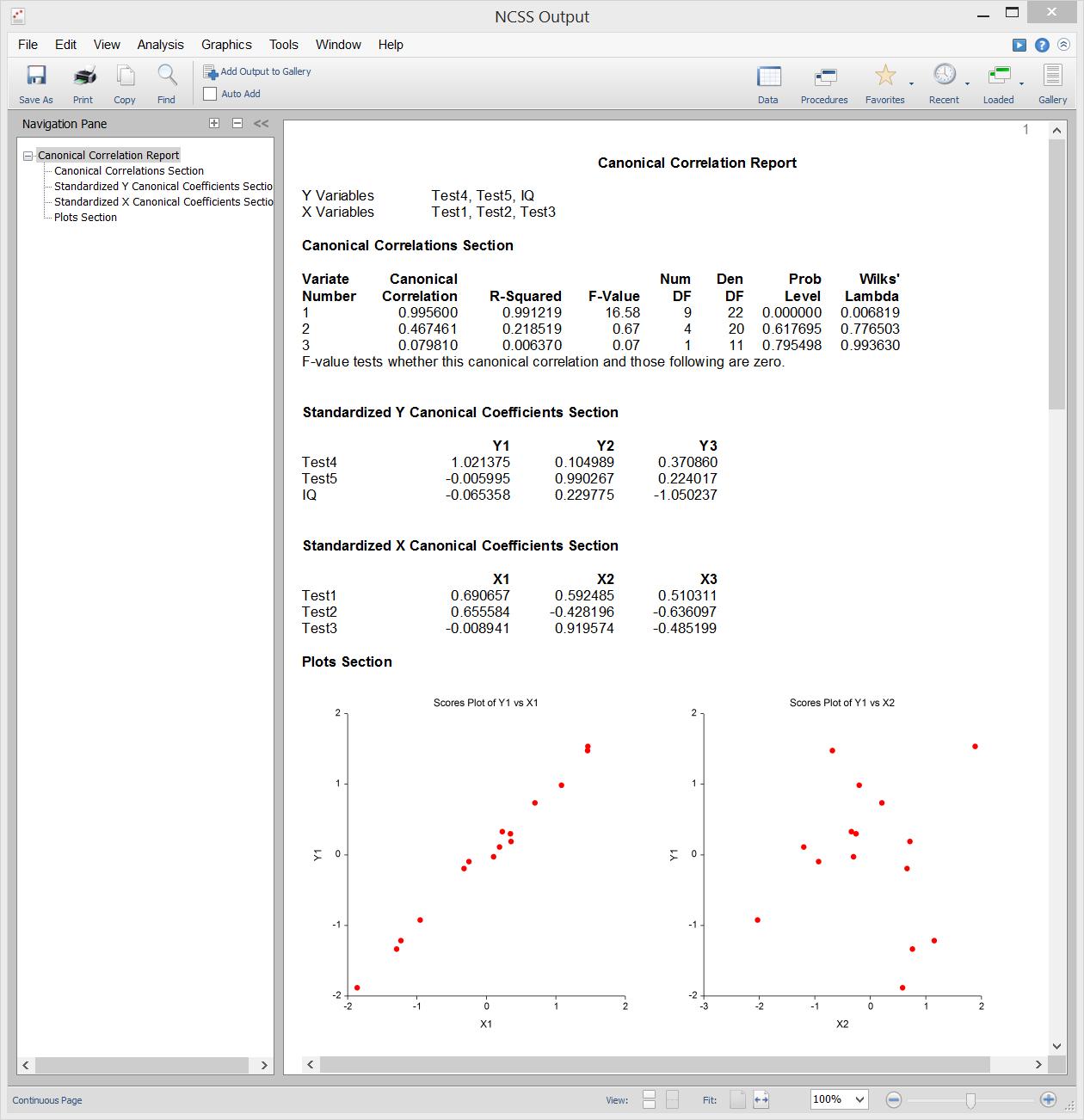 Canonical Correlation - Sample Output